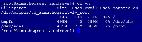 df -h output before growing the disk