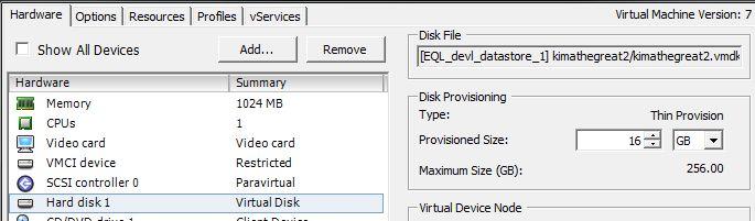 Edit Settings on the VM