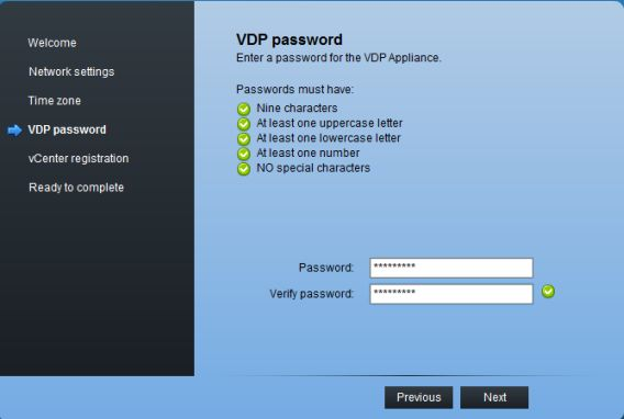 Enter your new root password for VDP