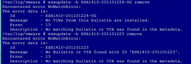 esxupdate encountered error