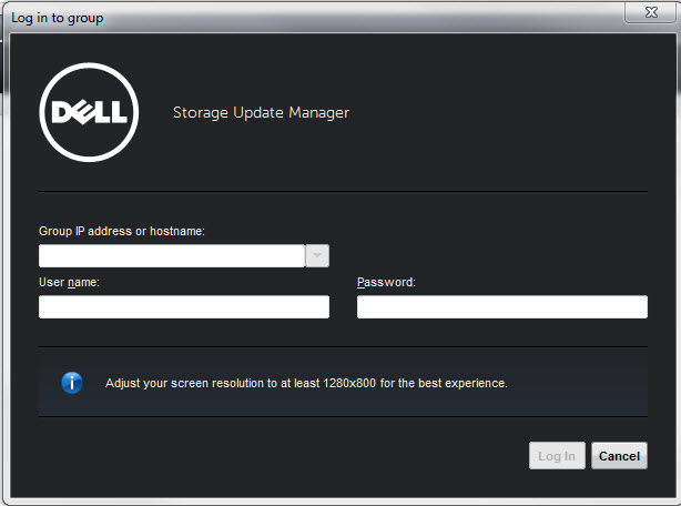 Dell Storage Update Manager Login