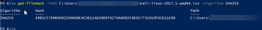 A powershell windows showing the Get-FileHash command